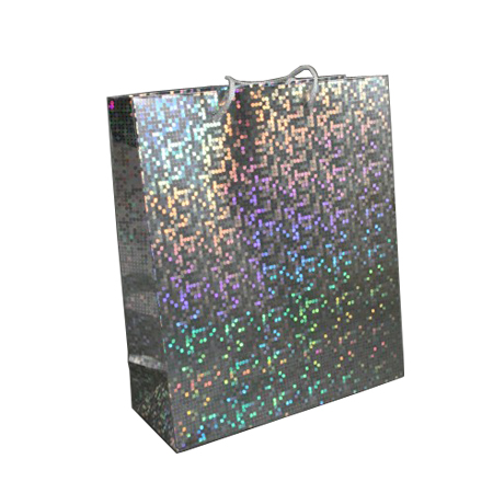 Medium Silver Holographic Foil Gift Bag with White Corded Handle