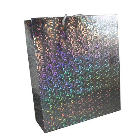 Large Silver Holographic Foil Gift Bag with White Corded Handle