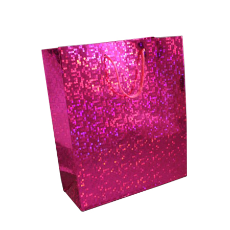 Medium Pink Holographic Foil Gift Bag with Pink Corded Handles