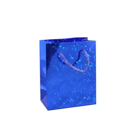Small Blue Holographic Foil Gift Bag with Blue Corded Handle