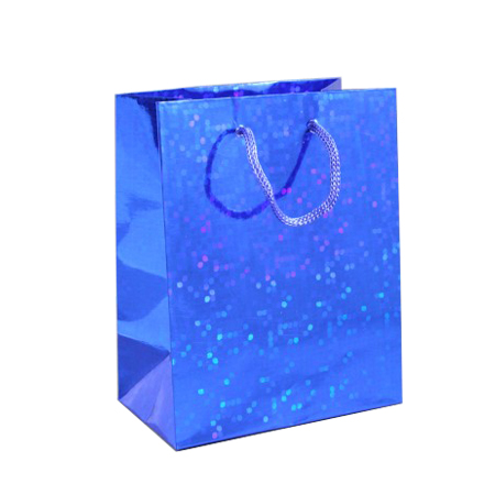Medium Blue Holographic Foil Gift Bag with Blue Corded Handles
