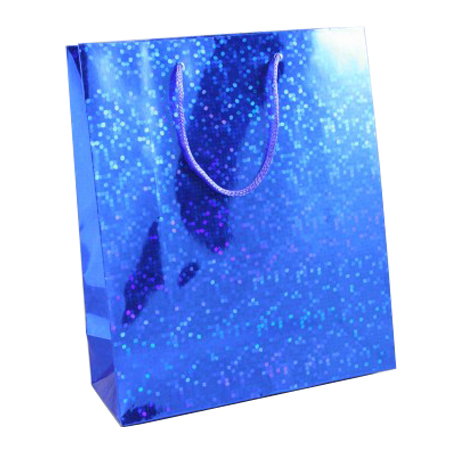 Large Blue Holographic Foil Gift Bag with Blue Corded Handles