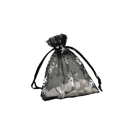 Small Black Organza Gift Bag with Silver Snowflake Print
