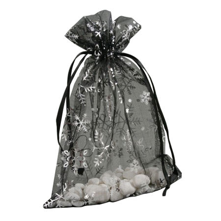 Black White Organza Gift Bag with Silver Snowflake Print