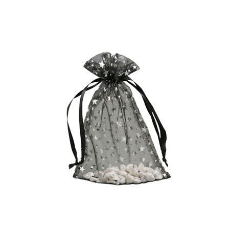 Small Black Organza Gift Bag with Silver Star Print