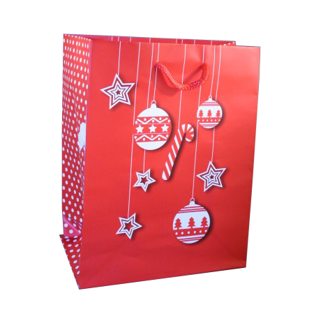 Small Red Christmas Gift Bag with White Bauble and Star Design with Polka Dot Side Panel