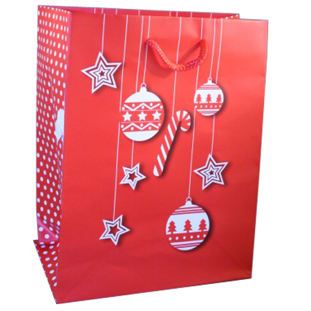 Large Red Christmas Gift Bag with White Bauble and Star Design with Polka Dot Side Panel