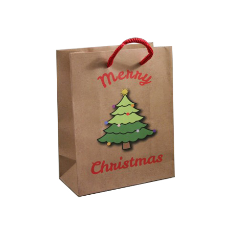Small Brown Merry Christmas with Christmas Tree Gift Bag  Red Corded Handles