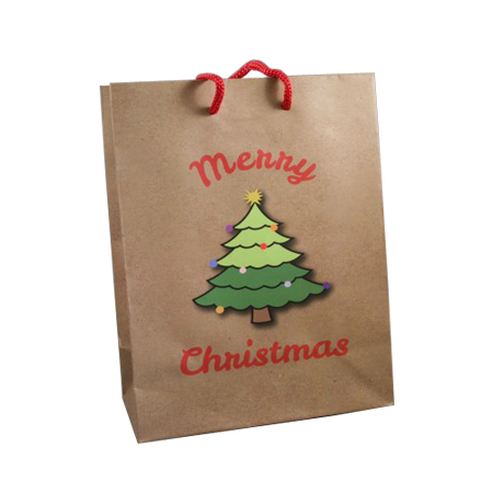 Medium Brown Merry Christmas with Christmas Tree Gift Bag  Red Corded Handles
