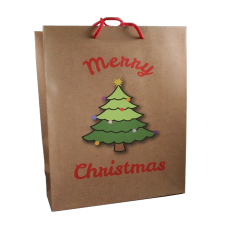 Large Brown Merry Christmas with Christmas Tree Gift Bag  Red Corded Handles