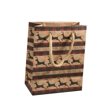 Small Brown Merry Christmas Reindeer Print Kraft Paper Gift Bag with Natural Cord Handles