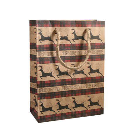 Medium Brown Merry Christmas Reindeer Print Kraft Paper Gift Bag with Natural Cord Handles