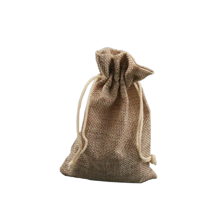 Small Oatmeal Coloured Jute Effect Drawstring Gift Bag
