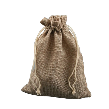 Medium Oatmeal Coloured Jute Effect Drawstring Gift Bag