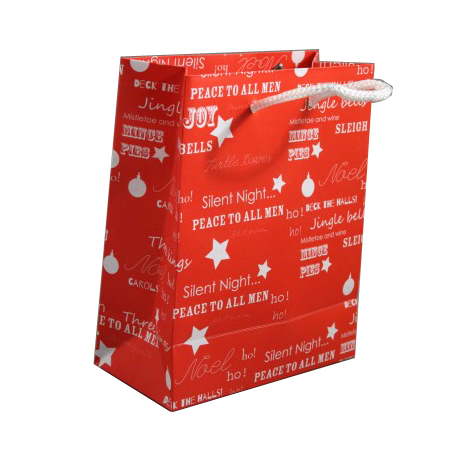 Small Red Christmas Gift Bag with White Festive Christmas Writing and White Cord Handles