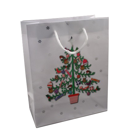 Large White Merry Christmas and Tree Design Gift Bag with White Cord Handles