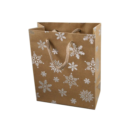 Small Natural Brown Kraft Paper Christmas Gift Bag with Corded Handles
