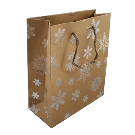 Medium Natural Brown Kraft Paper Christmas Gift Bag with Corded Handles