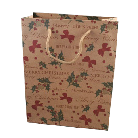 Medium Merry Christmas Natural Brown Kraft Paper Gift Bag with Holly and Bows Print