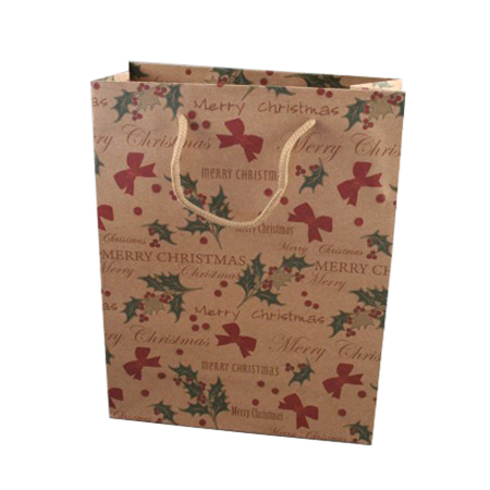 Small Merry Christmas Natural Brown Kraft Paper Gift Bag with Holly and Bows Print