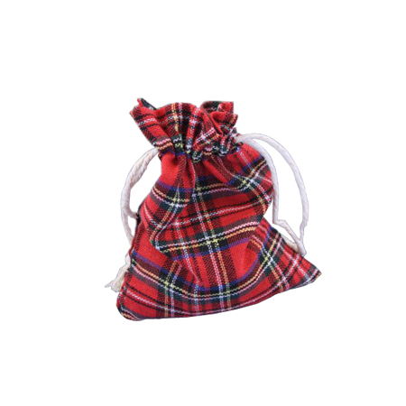Ex Small Red Tartan Printed Fabric Drawstring Gift Bag