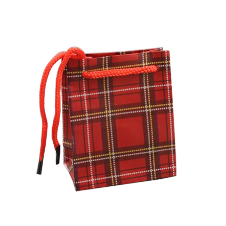 Small Red Tartan Printed Gift Bag with Red Corded Handles