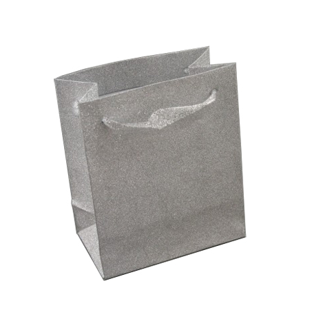 Small Silver Glitter Gift Bag with Ribbon Handles