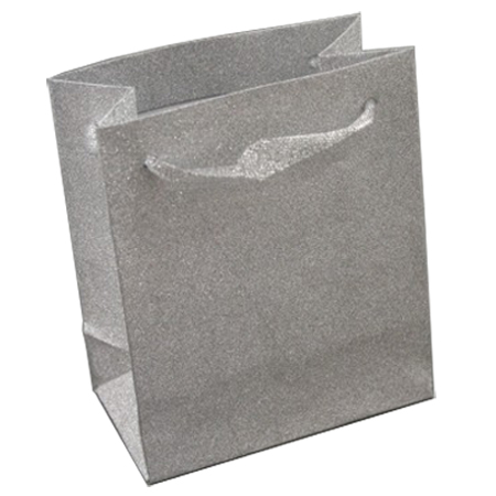 Medium Silver Glitter Gift Bag with Ribbon Handles