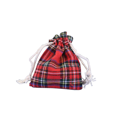 Ex Small-Red Tartan Printed Fabric-Drawstring Gift Bag