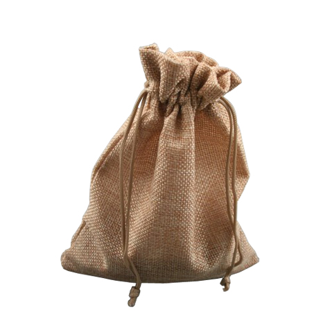 Medium Pebble Coloured Jute Effect Drawstring Gift Bag