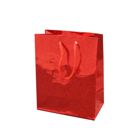 Small Red Holographic Foil Gift Bag with Red Corded Handles