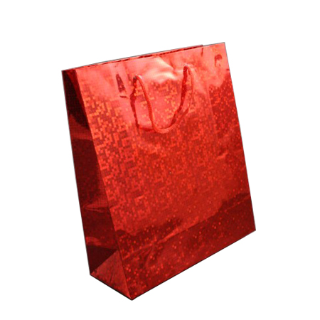 Medium Red Holographic Foil Gift Bag with Red Corded Handles