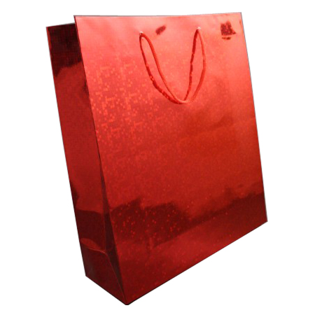 Large Red Holographic Foil Gift Bag with Red Corded Handles