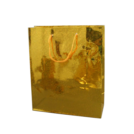 Medium Gold Holographic Foil Gift Bag with Gold Corded Handles