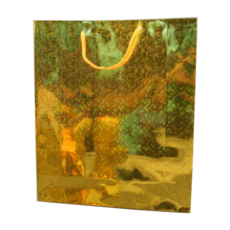 Large Gold Holographic Foil Gift Bag with Gold Corded Handles