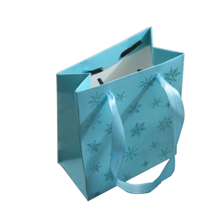 Small Turquoise Christmas Gift Bags with Snowflake Glitter Print and Ribbon Handle