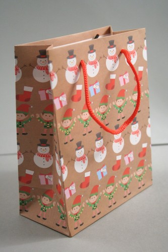 Small Brown Christmas Linear Character Design Gift Bag