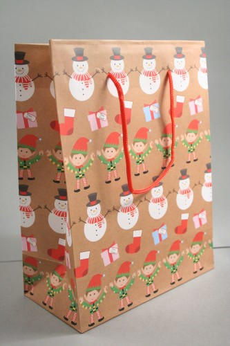 Medium Brown Christmas Linear Character Design Gift Bag