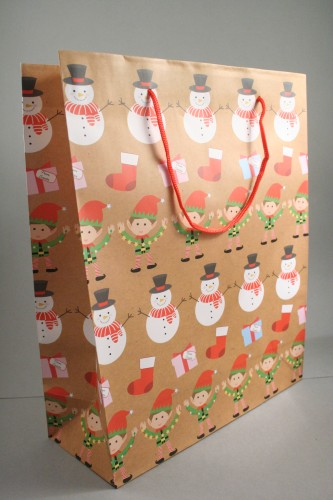 Large Brown Christmas Linear Character Design Gift Bag