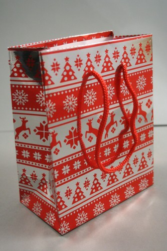 Small Red Christmas Holographic Gift Bag with Red Corded Handle