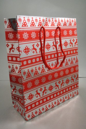 Medium Red Christmas Holographic Gift Bag with Red Corded Handle