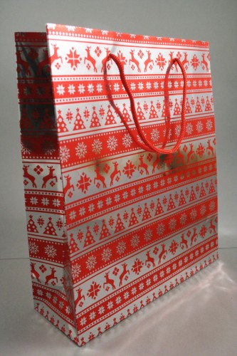 Large Red Christmas Holographic Gift Bag with Red Corded Handle