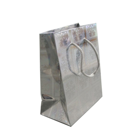 Small Silver Snowflake Christmas Holographic Gift Bag with Grey Corded Handle