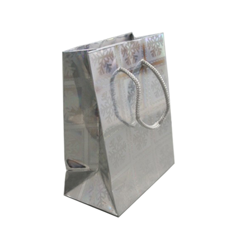 Medium Silver Snowflake Christmas Holographic Gift Bag with Grey Corded Handle