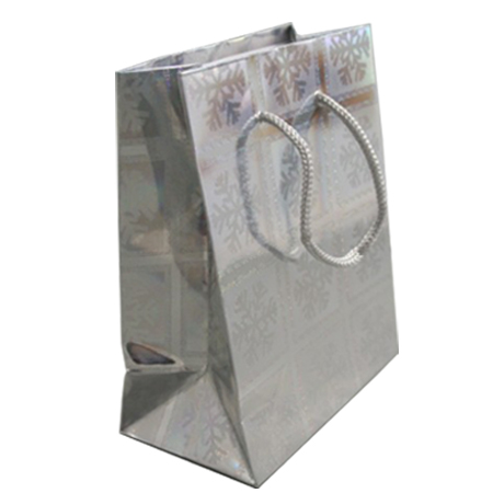 Large Silver Snowflake Christmas Holographic Gift Bag with Grey Corded Handle