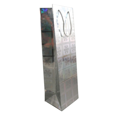 Silver Snowflake Christmas Holographic Bottle Gift Bag with Grey Corded Handle