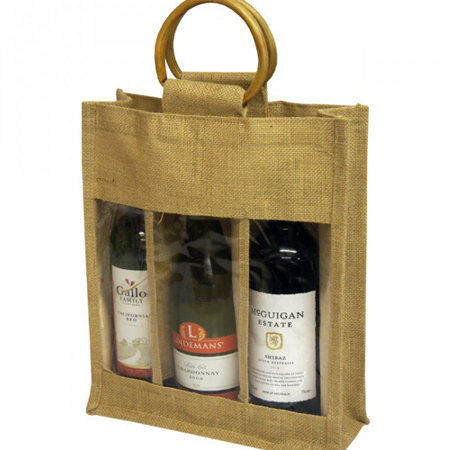 Three-Natural Jute-Bottle Jute Bags