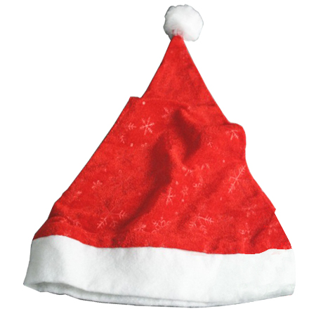 Christmas Santa Hat in Red Velvet Snowflake Detailed Fabric