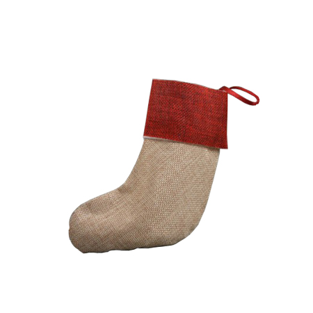 Small Natural Brown Jute Christmas Stocking with Red Trim and Burgundy Satin Loop