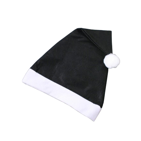 Christmas Santa Hat in Black with White Trim
